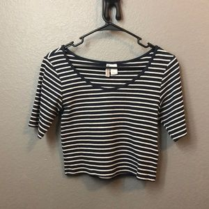 Navy blue and white striped crop top.